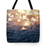 Snowy Winter Background With Fairy Lights. Tote Bag