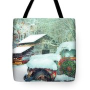 Softly Snowing On The Country Farm Tote Bag