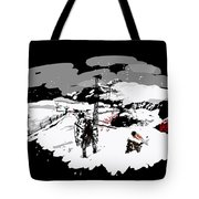 Spots In Snow In Black And White  Tote Bag