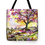 Spring Blossom Tree Warm Watercolor Tote Bag by Ginette Callaway