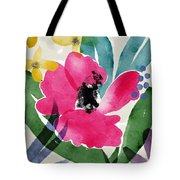 Spring Garden Pink- Floral Art By Linda Woods Tote Bag