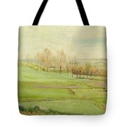 Spring Landscape With Light Green Fields Tote Bag