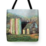 Spring On The Farm - Old Barn With Two Silos Tote Bag