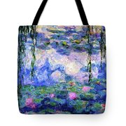 Spring Water Lilies After Monet Abstract Realism Tote Bag by Isabella Howard