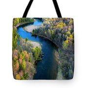 Springtime On The Manistee River Aerial Tote Bag