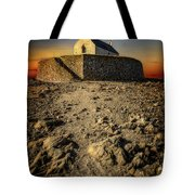 St Cwyfan Church Sunset Tote Bag