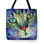 Stained Glass Cat Art Tote Bag by Peggy Collins