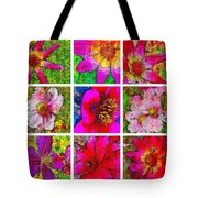 Stained Glass Pink Flower Collage  Tote Bag