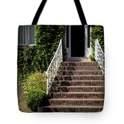 Stairs Leading To The Entrance Of A House Tote Bag