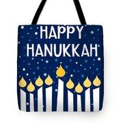 Starry Night Hanukkah Menorah- Art By Linda Woods Tote Bag