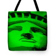 Statue Of Liberty In Green Tote Bag