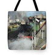 Steam Train Leaving Station Tote Bag