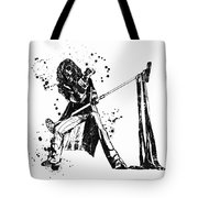 Steven Tyler Microphone Aerosmith Black And White Watercolor 01 Tote Bag