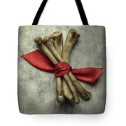 Still Life With Bones And Red Ribbon Tote Bag
