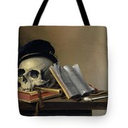 Still Life With Skull, Books, Flute And Pipe Tote Bag