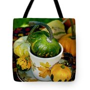 Still Live With Autumn Coffee Cup And Gourds Tote Bag