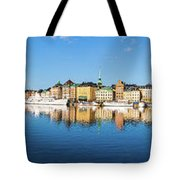 Stockholm Old City Fantastic Golden Hour Sunrise Reflection In The Baltic Sea Tote Bag