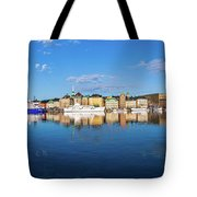 Stockholm Old City Sunrise Reflection In The Baltic Sea Tote Bag