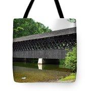 Stone Mountain Covered Bridge Panorama View Tote Bag