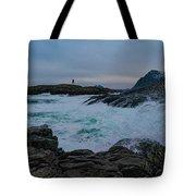 Storm At The Norwegian Coastline Tote Bag
