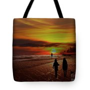 Strolling The Beach At Olon Tote Bag