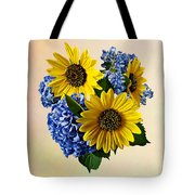 Sunflowers And Hydrangeas Tote Bag
