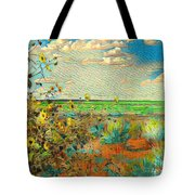 Sunflowers On The Edge Tote Bag