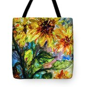 Sunflowers Summer Flowers Mixed Media Tote Bag