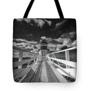 Sunny Skies At Marshall Point In Black And White Tote Bag