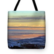 Sunrise View Across Cook Inlet From Above Anchorage Alaska Tote Bag