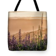 Sunset Among The Lupine Tote Bag by Laura Roberts