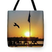 Sunset Dock Flag Silhouette Tote Bag by Patti Deters
