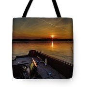 Sunset Fishing Dog Lake Tote Bag