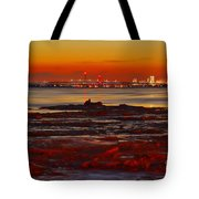 Sunset On The Still Frozen Upper Niagara River Tote Bag