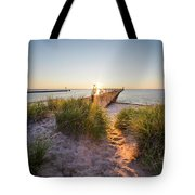 Sunset Over Dunes And Pier Tote Bag