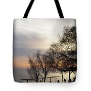 Sunset Scene Of Tree Branches And People Silhouettes Tote Bag