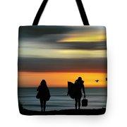 Surfer Girls Silhouette Tote Bag