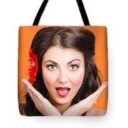 Surprised Vintage Woman Tote Bag