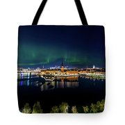 Swirly Aurora Over Stockholm And Gamla Stan Tote Bag
