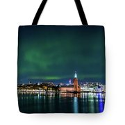 Swirly Aurora Over The Stockholm City Hall And Kungsholmen Tote Bag