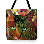 Tabby Cat In The Garden Tote Bag by Peggy Collins