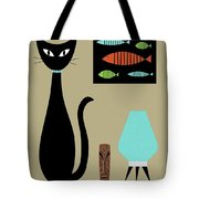 Tabletop Cat With Turquoise Lamp Tote Bag by Donna Mibus