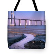 Tagus River And Vasco Da Gama Bridge Tote Bag