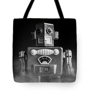 Take Me To Your Leader Vintage Tin Toy Robot Black And White Tote Bag