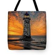 Talacre Beach Lighthouse Sunset Tote Bag