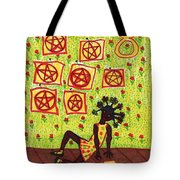 Tarot Of The Younger Self Eight Of Pentacles Tote Bag