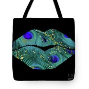 Teal Peacock Lips Kissing Mouth Fashion Art Tote Bag
