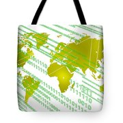 Tech Worldmap With Binary Code Tote Bag