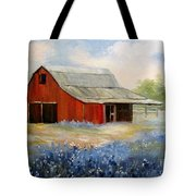 Texas Blue Bonnets And Red Barn Tote Bag