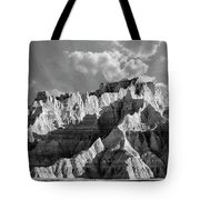 The Badlands In Black And White Tote Bag